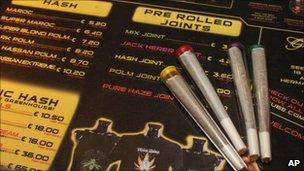 Cannabis joints in a Dutch coffee shop