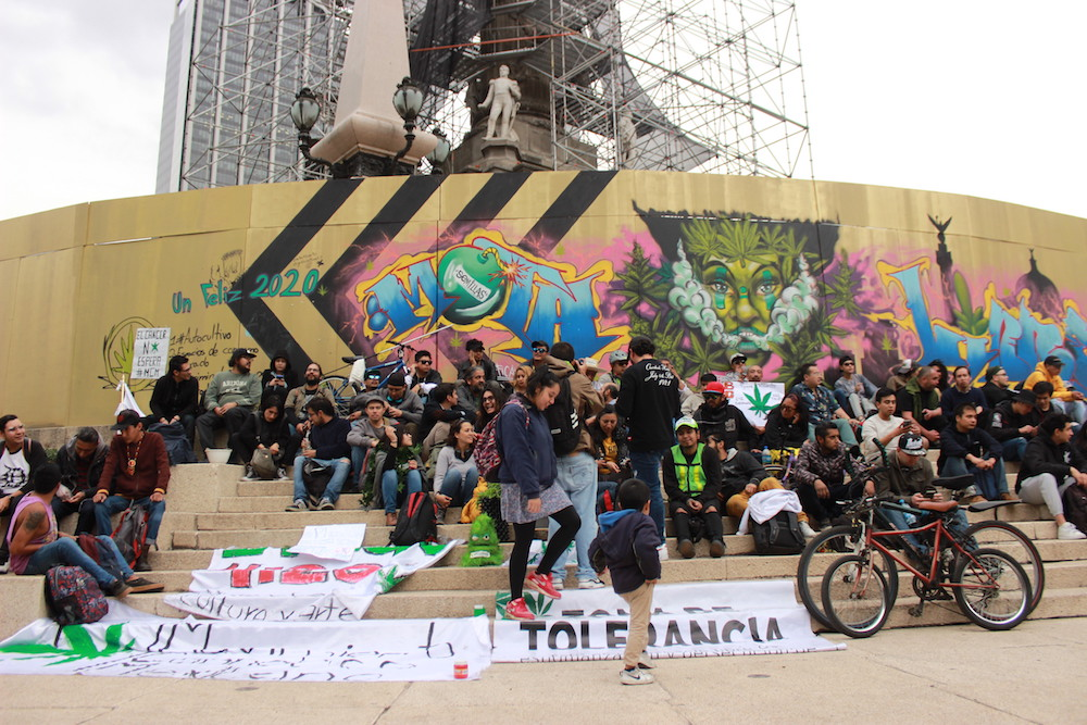 Mexico City Cannabis Activists Plant Buds at Capital's Best Known Monument