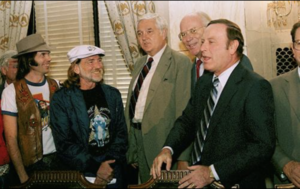 Neil Young and Willie Nelson meeting with members of the Senate Agriculture Committee
